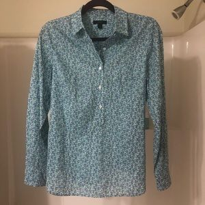 J. Crew Blue Floral Long Sleeve Button Down